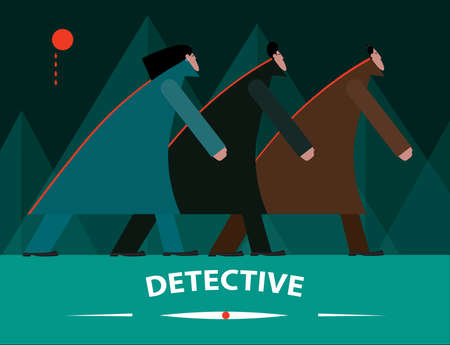 detective: Vector illustration on color background featuring detective, three men going under the bloody moon
