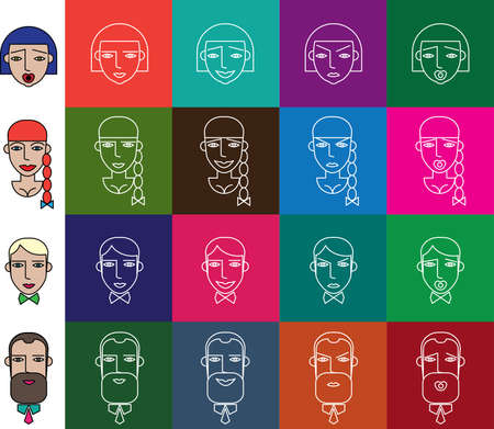 contrasty: Vector illustration featuring contrasty set of people icons in flat style with faces Illustration