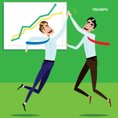 high spirits: Vector illustration on color background featuring businessmen enjoyed success in business