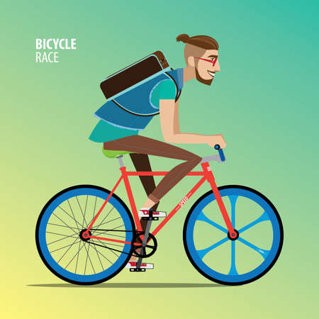 Hipster man rides on a fix gear bike, side view