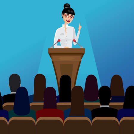 Smiling business woman public speaker staying in the pulpit on conference