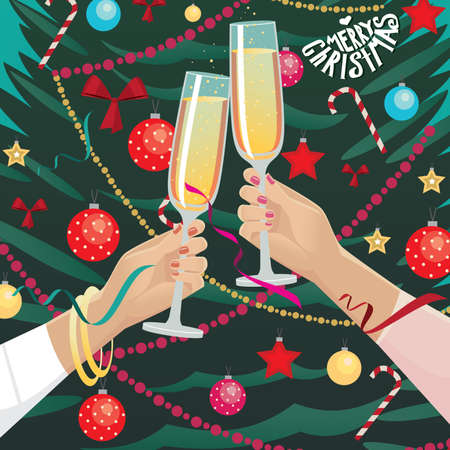 clink: Festively dressed girlfriends clink glasses near Christmas tree indoors Stock Illustratie