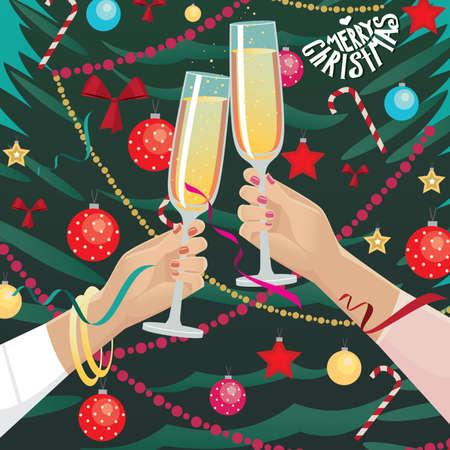 sektglas: Festlich gekleidet Freundinnen Clinkgläser nahe Weihnachtsbaum zuhause