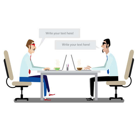 two minds: Vector illustration on white background featuring communication between two businessmen at the table