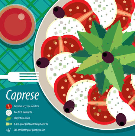 salatdressing: Infografics recipe and view at table with caprese on plate
