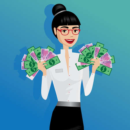woman holding money: Best salary, happy business woman holding lot of money as hand fan Illustration