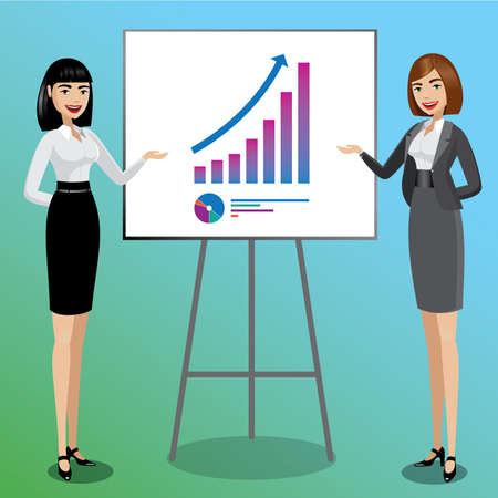 Successful concept, two business women presenting good results for their idea Illustration