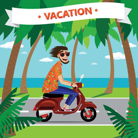motociclista: Vector illustration on color background featuring motorcyclist on the retro scooter with sunglasses, palms, ocean