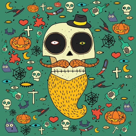 scaring: Vector square illustration featuring Halloween greeting card with different topical objects