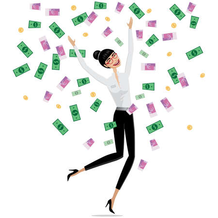 businesslike: Successful business concept, money falling on business woman Illustration