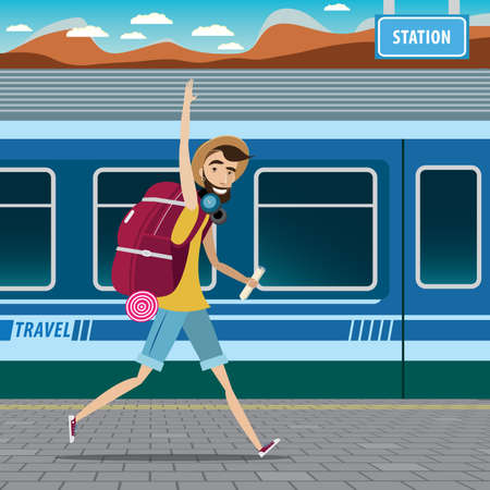 European tourism concept, smiling backpacker walking at the railway station and waving Stock Illustratie