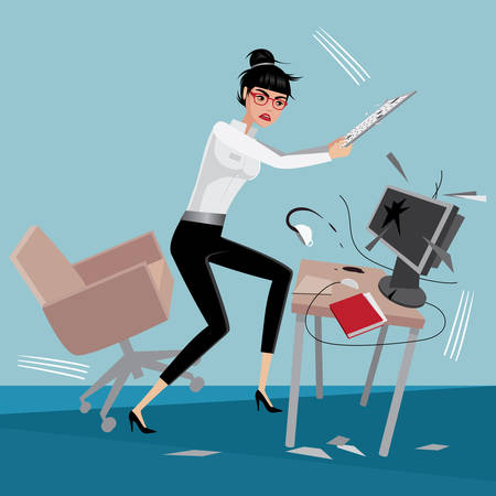 stressed business woman: Angry business woman breaks a computer at workplace in office Illustration