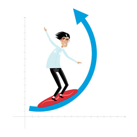 goodluck: Vector illustration on white background featuring successful businessman surfing on growing arrow Illustration