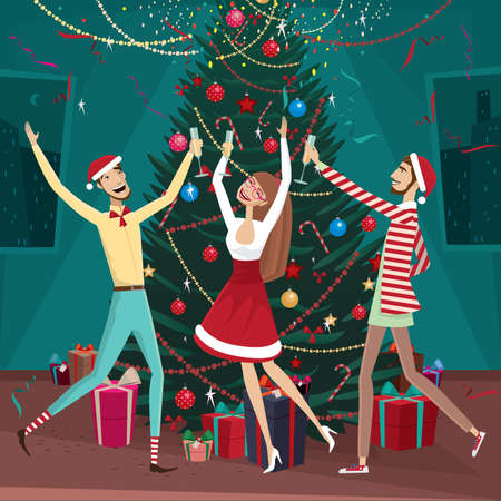 fervor: Celebration New Year at home with family and friends Illustration