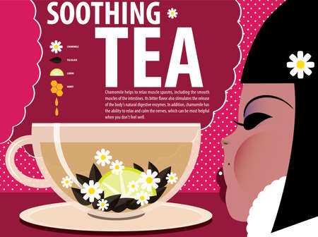 soothing: Vector illustration on color background featuring recipe of soothing tea, infographics