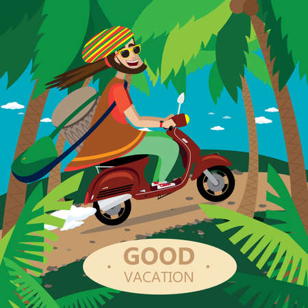 rastaman: Vector illustration on color background featuring rasta motorcyclist on the retro scooter, in the tropics, with drum, sunglasses and bag Illustration