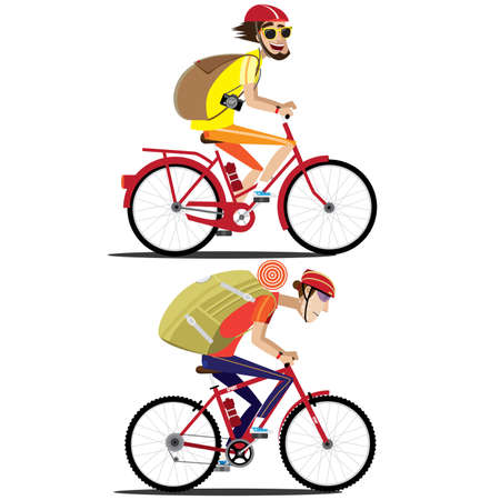 cycler: Vector illustration on white background featuring set of two bicyclists, street and mountain