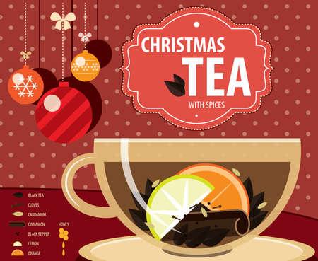 Vektor-Illustration auf schwarzem Hintergrund mit Rezept von Weihnachten Tee, Infografiken