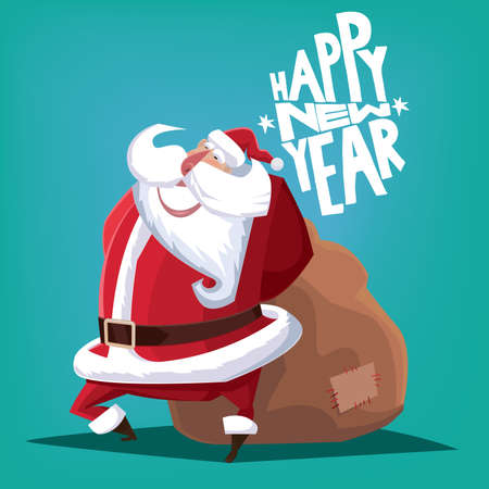gift bag: Greeting card Happy New Year blue Santa Claus with gift bag