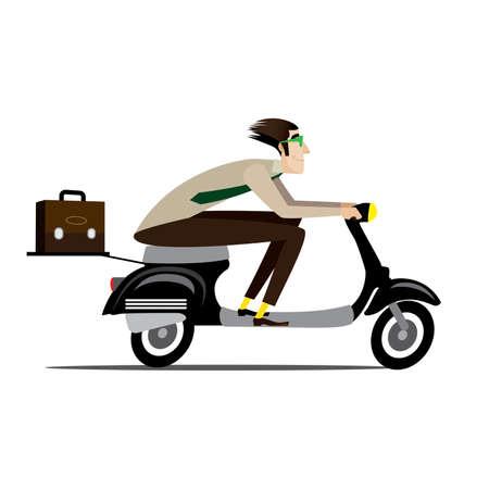 크리 에이 티브 남자와 가방을 갖춘 흰색 배경에 벡터 일러스트 레이 션 헬멧없이 복고풍 스쿠터에 러시 일러스트