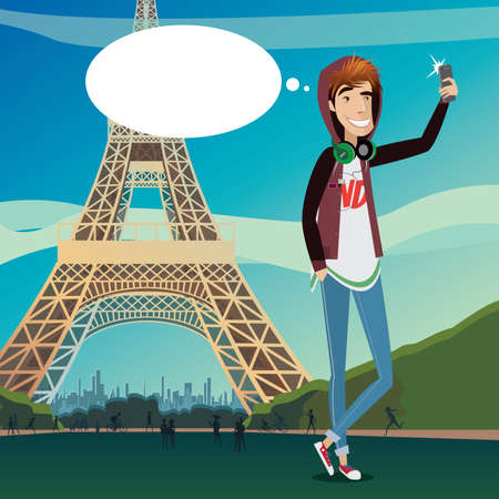 vac: Eiffel Tower selfie featuring teenager makes self-portrait against the backdrop of the famous monument of modern architecture Illustration