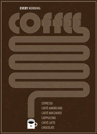 jachere: Vector illustration featuring coffee poster with cup of coffee
