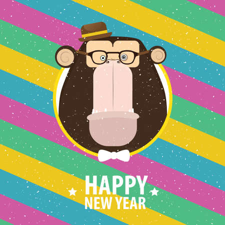 Square greeting card Happy New Year with hipster monkey in varicolored frame Çizim