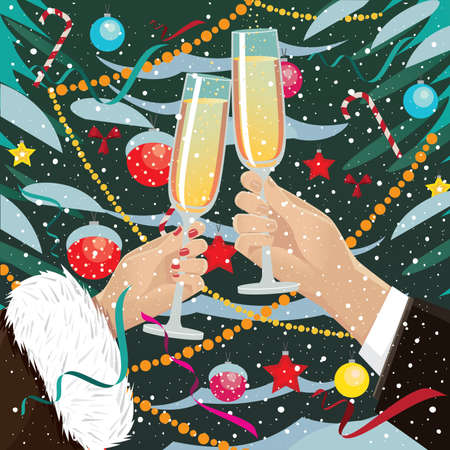 solemnize: Celebrating New Year near Christmas tree outdoors couple clink glasses