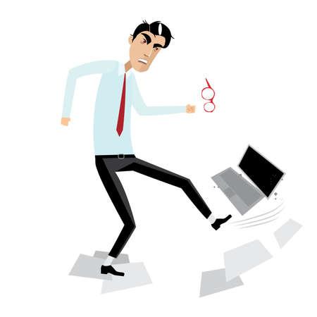 Vector illustratie op een witte achtergrond die boos zakenman breken laptop