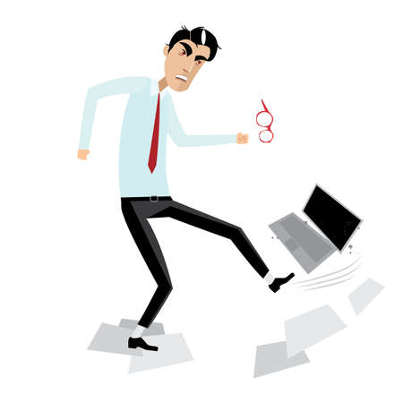 man working on computer: Vector illustration on white background featuring angry businessman breaking laptop Illustration