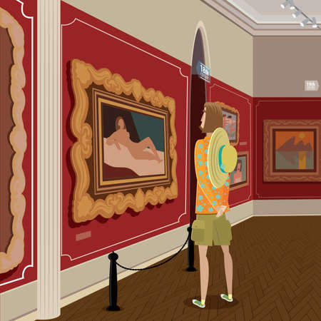 foreshortening: Vector illustration featuring sightseer in picture gallery