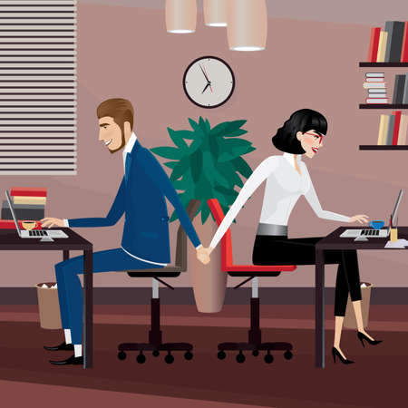 Couple holding hands at workplace. Love affair at work