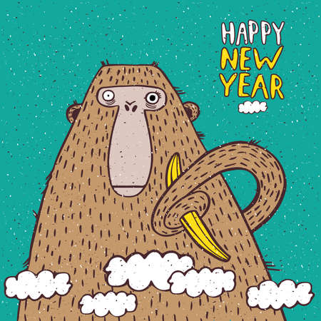 new year card: Funny New Year illustration with monkey and banana