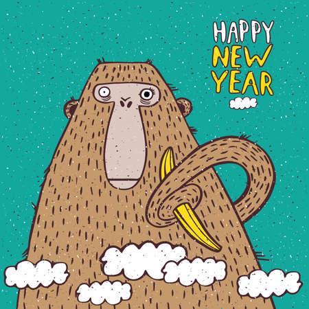 banane: Illustration dr�le Nouvel An avec le singe et la banane