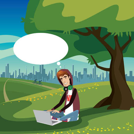 self employed: Happy teenager sitting under the tree in city park, using laptop and thinking bubble Illustration