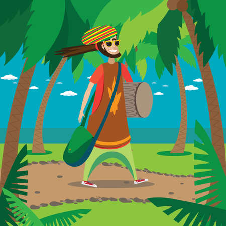 rasta hat: Vector illustration on color background featuring rasta man walking in the tropics with drum and bag