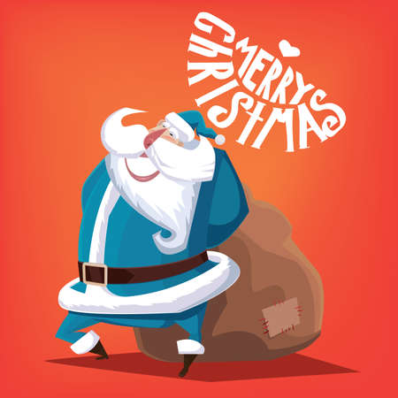 blue santa: Greeting card Merry Christmas blue Santa Claus with gift bag