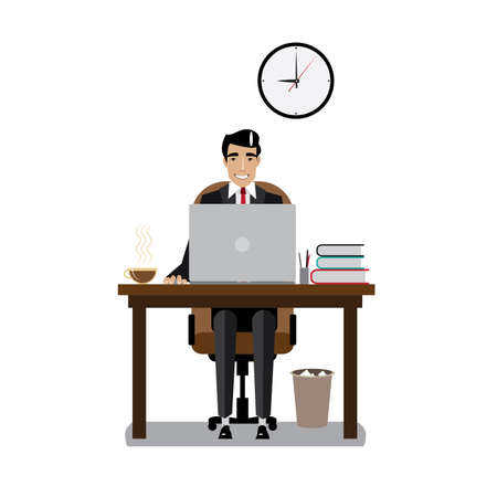 good mood: Vector illustration on white background featuring morning, businessman in a good mood with tie and workplace with laptop and coffee