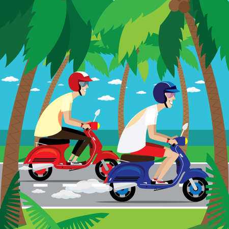 motociclista: Vector illustration on color background featuring two motorcyclist riding on a retro scooters together