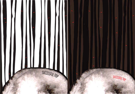 spooky eyes: Vector illustration featuring spooky forest with glowing red eyes