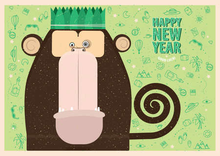 despondency: Happy New Year greeting card with monkey for travel people