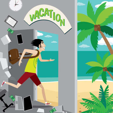 stir: Vector illustration on color background featuring vacation, businessman running out of the office to the beach