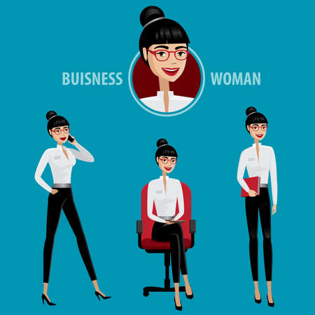 Set of business woman contains several poses and icon
