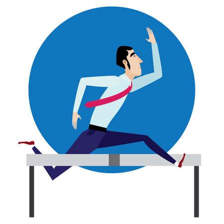 adventurer: Vector illustration featuring businessman jumping over barrier.