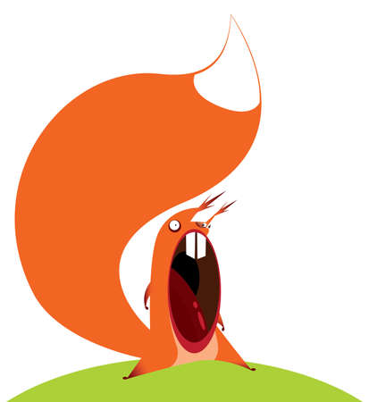 big mouth: Vector illustration on white background featuring funny squirrel with big mouth