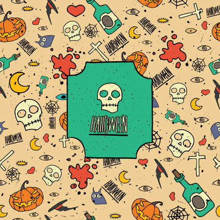 Vector illustration contains modern Halloween seamless pattern with different topical objects