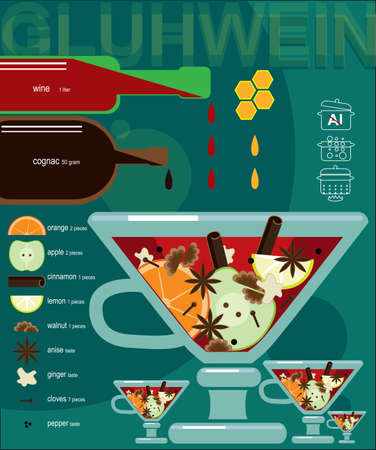 hot drinks: Vector illustration on color background featuring recipe of mulled wine, infographics Illustration