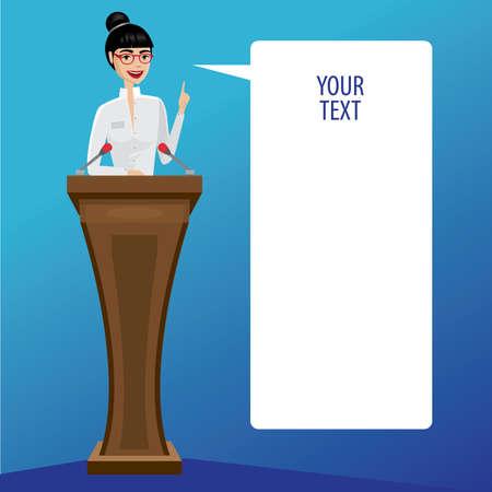 businesslike: Pretty business woman on podium saying bubble