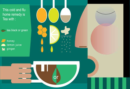 flu virus: Vector illustration on color background featuring recipe of tea, infographics