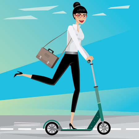 eagerness: Happy businesswoman rushing from work by scooter